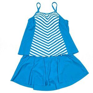 New Denim & Co. Stripe Tankini swimsuit skirt 16